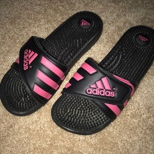 Adidas slides- black and hot pink